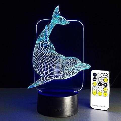 Lazy Décontracté Animal Series Illusion Optique 3D Lampe de bureau 7couleurs Changement Touch Bouton et 15Clés Télécommande LED Night Light