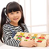 Yosemite Wooden Puzzle Set,Wooden Baby Bear Changing Clothes Puzzle Set Children Kids Educational Toys Gift for Kids