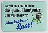 """Kühlschrankmagnet mit 3D-Aufkleber ca. 87 x 56 mm - lustiger Spruch: """"Da will man mal in Ruhe putzen ..."""""""