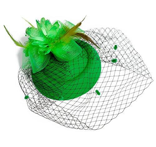 FEIBAO Tee-Party Faszinator Federhut Feder Haarklammer Pillbox Hut -
