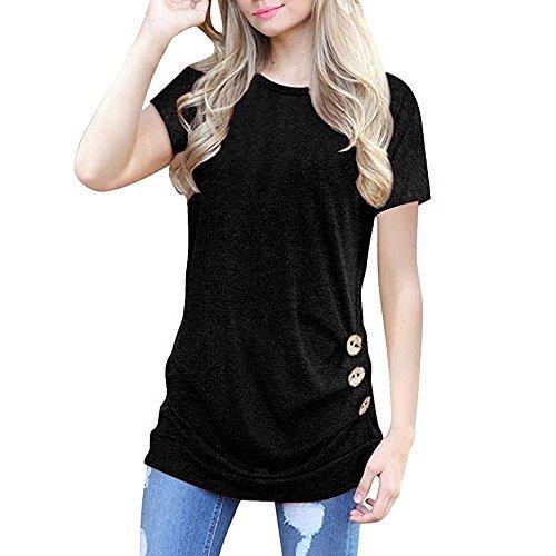 OVERDOSE Damen Kurzarm Lose Knopfleiste Bluse Einfarbig Rundhals Tunika T-Shirt Sommer Oberteil Tops (B-schwarz,S)