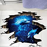 Mddrr 3D Dunkelblau Traum Delfin Bodenaufkleber Badezimmer Wohnzimmer Boden Dekoration Wandbild Wandaufkleber Wohnkultur Aufkleber Tapete