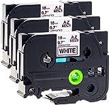 3x Schriftbandkassette für Brother TZe-241 schwarz auf weiß 18mm breit x 8m lang laminiert kompatibel zu TZE-241