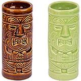 Neoma Ceramic Tiki Mug Set Of 2-Tiki Tumblers Party Mugs Glasses, Beer Mug/Glass, Tiki Sculptural Table Mug, Tiki Island Mugs, 250 Ml, Brown & Green