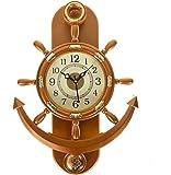 #6: eCraftIndia Decorative Retro Anchor Copper Pendulum Wall Clock