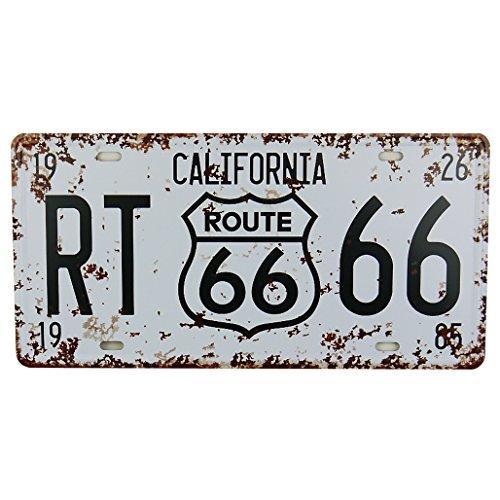Weiß Route 66Dose Metall Poster Nummernschild Home Bar Decor Metall Schild -