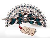 #7: TiedRibbons® Gifts for Girlfriend Peacock Hair Clip with Be Mine Wooden Tag