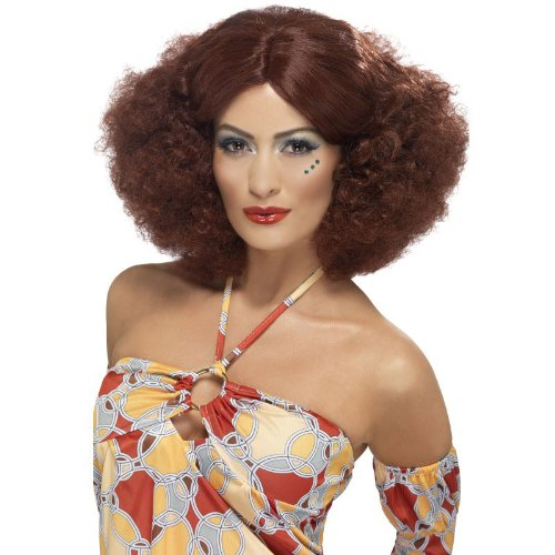 Ladies Auburn 70s Wig with centre parting.