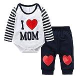 Baywell Neugeborene Baby Jungen Mädchen Kleider Set, Entzückende Spielanzug Set 2Pcs Outfit Süße Herz Print (M/80/6-12 Monate, Blau-I love Mom)