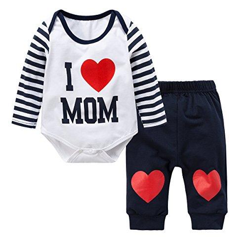 Neugeborene Baby Jungen Mädchen Kleider Set, Baywell Entzückende Spielanzug Set 2Pcs Outfit Süße Herz Print (XS/60/0-3 Monate, Blau-I love (Kleid Jungen)