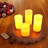 TRESKO® 4er Set LED Kerzen stimmungsvolle Echtwachskerzen Wachskerzen mit Fernbedienung