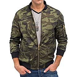 Hombres chaqueta de bombardero ligero Vuelo PILOT Nr.1585 camuflaje, Farben:Green;Größe Jacke:S