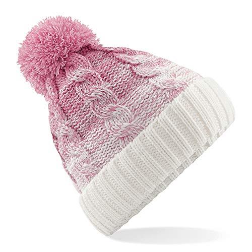 1903 Winter Bommelmütze Beanie - Ski Snowboard Grobstrick Unisex Herren Damen Kinder Jungen Mädchen, Dusky Pink/Off White, Für Erwachsene -