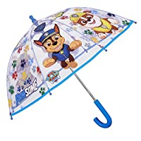 Transparent Paw Patrol Umbrella for Children - Blue Stick Umbrella for Boys - Marshall Chase and Rubble Print - Windproof Dome Brolly with Safety Opening - Kids 3/6 Years Old - Diam 64 cm - Perletti