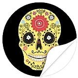 Halloween Dekoration/Aufkleber/Sticker/48 Stück/Moderner Totenkopf Bunt zum Kleben/Dekorieren/Selbstklebend/Rund, 4cm