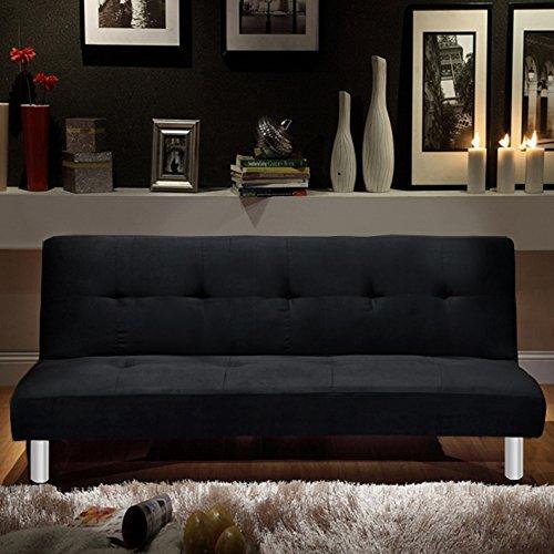 Divano letto 3 posti microfibra nero stile moderno recrinabile da soggiorno divani design