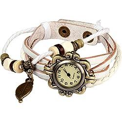 Bohemian Style [Waterproof] Retro Handmade Leather [Angel Wing Pendant Wrist Watch] Fashionable, Luxury & Stylish Weave Around [Wrap Watch Bracelet] For Women Ladies Girls. [Scratch Resistant]- White