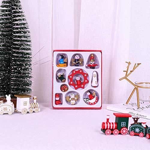 CHshe-⭐- Weihnachts Puppe Decorations - Weihnachtsmann/Bär Kinders Holz Diy Weihnachtsbaum Hängen Dekor Ornament Spielzeug Geschenk