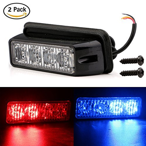 EverBrightt 2-Pack rouge bleu double couleurs 4 LED voiture Flash lumière DRL camion AVERTISSEMENT ATTENTION Construction d'urgence Strobe Light DC 12V-24V