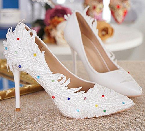 Minitoo MinitooUK-MZ8253, Escarpins Pour Femme White-9cm Heel