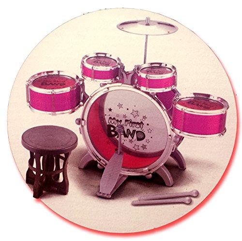 big-band-drum-set-con-sedia-musica-toy-strumento-per-bambini-8-pc-set-batteria-10-pezzi-rosso