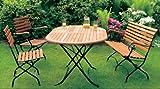 Klappbare Garnitur SCHLOSSGARTEN 4-teilig, Stahlgestell schwarz + Eukalyptus, FSC-zertifiziert