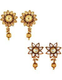 Om Jewells Traditional Ethnic Combo Of Stylish Two Earrings With Crystals Stones For Women CO1000008