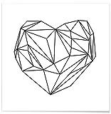 """JUNIQE® Poster 20x20cm Schwarz & Weiß Herzen - Design """"Heart Graphic"""" (Format: Quadrat) - Bilder, Kunstdrucke & Prints von unabhängigen Künstlern - Romantische Kunst, Liebe & Love - entworfen von Mareike Böhmer"""