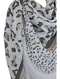 Grand foulard 50% coton imprimé léopard beige ou gris