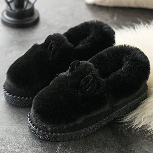 Cotone fankou pantofole in autunno e inverno coppia femminile home caldo spessa spessa pacchetto con scarpe di ispessimento Rosa