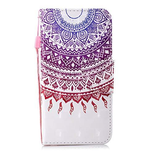 Uposao Lederhülle für Samsung Galaxy S7 Edge Leder Handytasche Tasche Handyhülle Luxus 3D Bunt Glänzend Glitzer Flip Case Klapphülle Magnet Kartenfächer Schutzhülle,Lila Mandala Henna Blumen