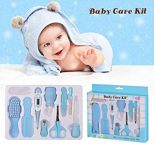 Babypflege Set,10-teiliges Baby Gesundheitsset mit Digital-Thermometer Nasensauger Pipette Feeder, Kit mit Nagel- und Haarpflegeset, Babypflegeartikels mit Fingerzahnbürste und Nasenpinzette -