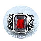 Amody Edelstahlringe für Männer Gotischen Herrenring Rot Stone Zirkonia Rot Ringe Größe 57 (18.1)