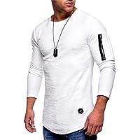 Casual Streetwear Men T Shirt Long Sleeve Pure Color Pocket on Arms Zipper Patchwork O-Neck Sportwear Tops