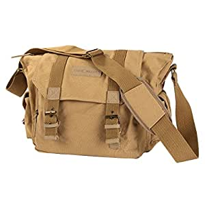 K F & Concept Camera Shoulder Bag Canvas Khaki Fashional Casual Camera Bag for DSLR Canon Nikon Pentax Sony Cameras