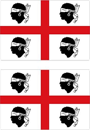 Preisvergleich Produktbild 2x selbstklebend Sticker, Wandtattoo Flagge Auto Sardinien Nationalistische