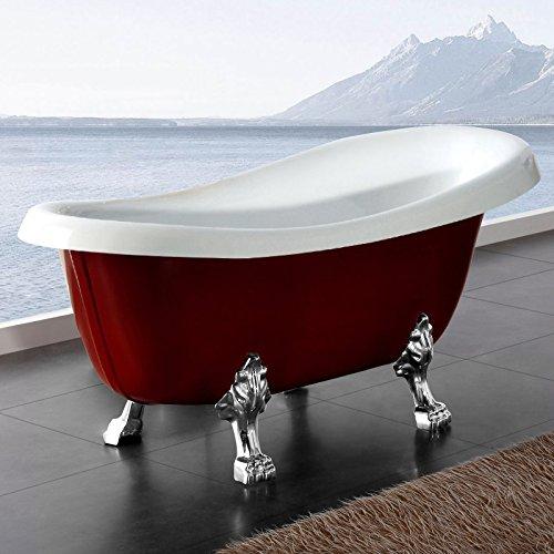 Möbelcreative Freistehende Design Badewanne Nostalgie inkl. Ab- und Überlauf rot chrom