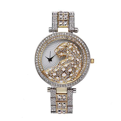 Frauen Quarzuhr Mode Casual Damen Uhr Weibliche Quarz Gold Uhr Kristall Diamant Leopard Für Frauen Uhr C Leopard-diamant