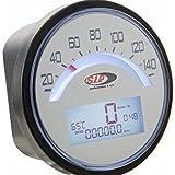 Drehzahlmesser/Tacho SIP 2.0 rund, - 140 (km/h/mph) / 140000 (Umin/rpm), Ziffernblatt:weiß, LCD weiß, digital/analog, 18 Funktionen