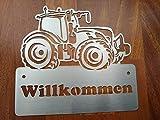 Gartendeko Fockbek Türschild Klingelschild NamenschildEdelstahl Trecker 2 Traktor Landwirtschaft Willkommen