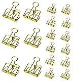 mSure Foldback Klammern 18 Stück Papierklammern Büroklammern Kleiner Binder Clip für Büro Dokumente(Gold *6M+12S)