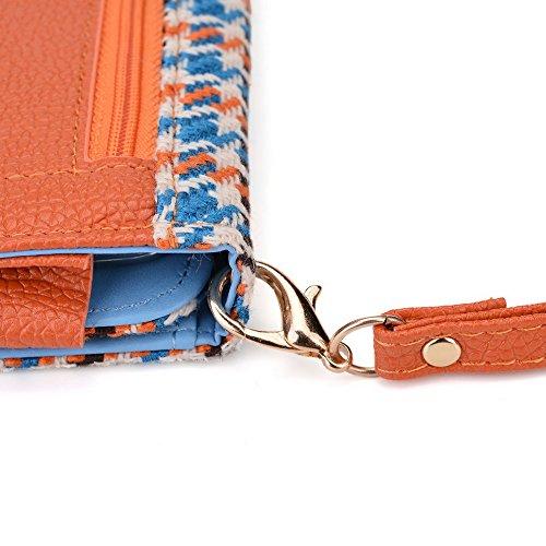Kroo Housse de transport Dragonne Étui portefeuille pour Amazon Fire Phone violet Blue Houndstooth and Orange