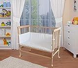 WALDIN Baby Beistellbett mit Matratze und Nestchen,4te Seite abnehmbar, höhen-verstellbar, 16 Modelle wählbar, Buche Massiv-Holz natur unbehandelt,blau