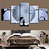 Black and White Poster Wall Decor Picture Print 5 Pieces Moon Tree and Bird Umbrella Girl Night View Canvas Painting Modular Art_40x100cm
