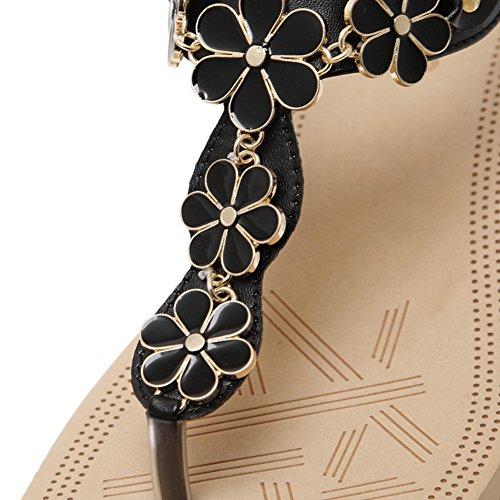 Chaussures Femme Perles Clip Toe Compensées Talon Sandale De Plage Noir