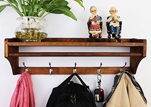 Jrlinco appendiabiti da parete in legno massello, moderno appendiabiti,5 ganci mensola a muro,espositore appendiabiti,camera da letto e bagno decorazione, espositore per camera (65.5cm)
