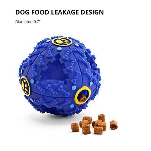 Minkoll Juguetes de pelota de perro, bola de tratamiento para perro, dispensador de alimentos para perros, limpieza de dientes, juego de masticar para tamaño pequeño (menos de 30 libras), color azul