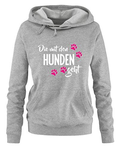Comedy Shirts - Die mit den Hunden geht - Damen Hoodie - Grau / Weiss-Pink Gr. XXL Hund Hoodie