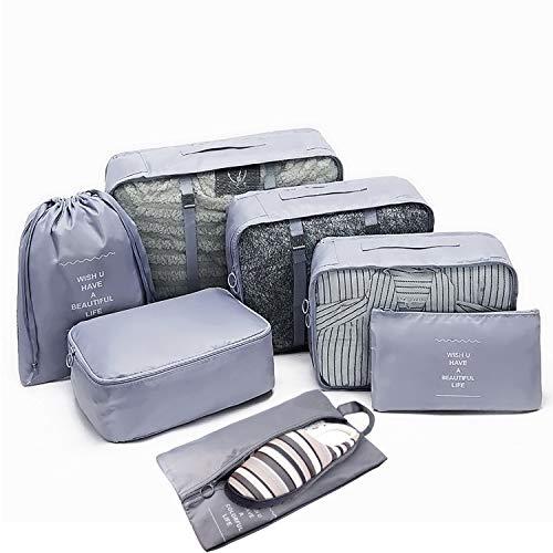 Koffer Organizer Set 7-teilig, Reisen Aufbewahrungstasche, Kleider Taschen, Packing Cubes Organizer Tasche für Kleidung Kosmetik Schuhen Beutel
