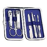 Hotaluyt 7pcs / Set Herramientas Cuidado de uñas Nail Set Kit Profesional Clippers Trimmer Utilidad de Acero al Carbono de manicura con Estuche de PU de la Flor